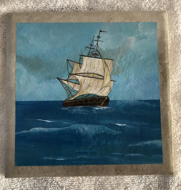 Old ship on seas